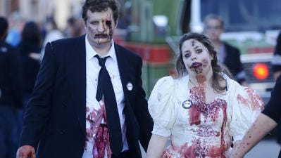 A zombie bride and groom from a previous zombie walk.