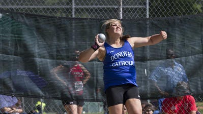 Alyssa Wilson won the girls shot put and discus at the Meet of Champions, breaking her own state record in the shot.