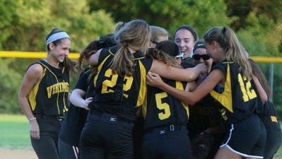 The South Brunswick softball team celebrates its GMC Tournament final victory last season.