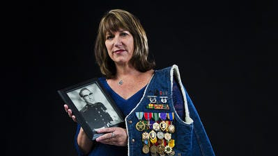Karina Bland's father, D.J. Bland, served 21 years in the U.S. Marine Corps.