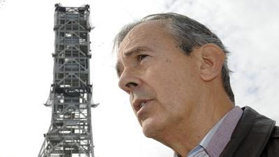 Former Rockledge Mayor Larry Schultz, who died April 26 at age 74, is seen in 2009  in front of the Ares I Mobile Launcher at Kennedy Space Center. Schultz was an aerospace engineer by trade.