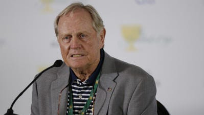 Jack Nicklaus responds to a question during a news conference at the Presidents Cup at Muirfield Village Golf Club