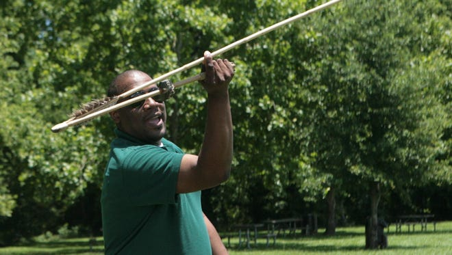 A Poverty Point World Heritage Site ranger will demonstrate how to throw an atlatl, shown here, and teach visitors about ancient archery from 10 a.m.-1 p.m. Saturday.