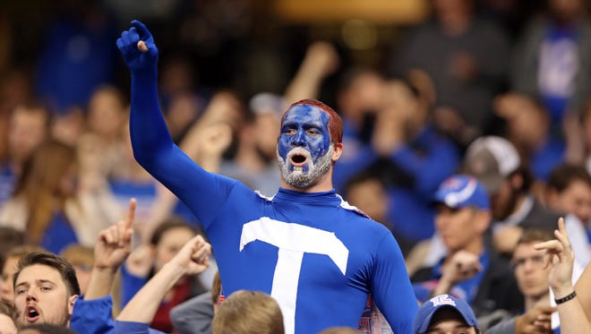 A Louisiana Tech Bulldogs fan cheers in the second half of the 2015 New Orleans Bowl at the Mercedes-Benz Superdome. Louisiana Tech beat the Arkansas State Red Wolves, 47-28.