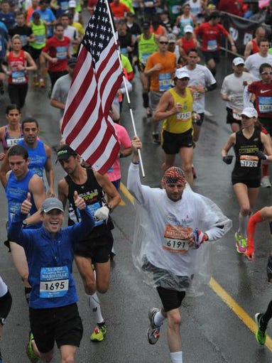 Runners in Country Music Marathon on Saturday April 27, 2013.