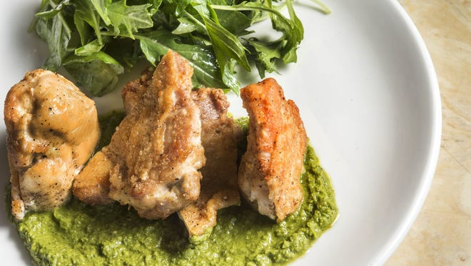 Pan-roasted chicken with salsa verde from Little Octopus, which plans to relocate from East Nashville to the Gulch