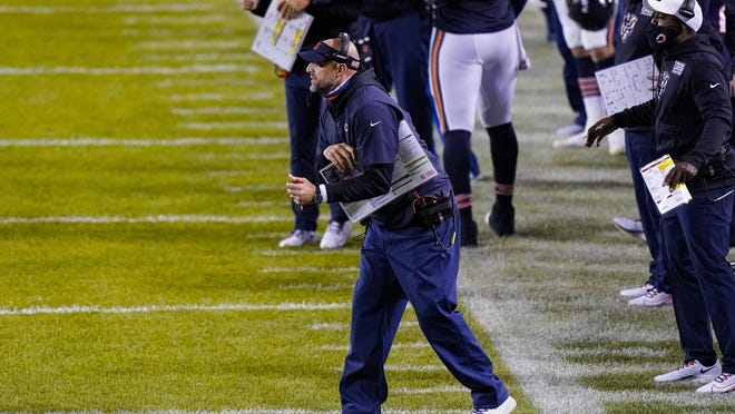 Chicago Bears head coach Matt Nagy yells from the sideline in the first half of Thursday night's game against the Tampa Bay Buccaneers in Chicago.