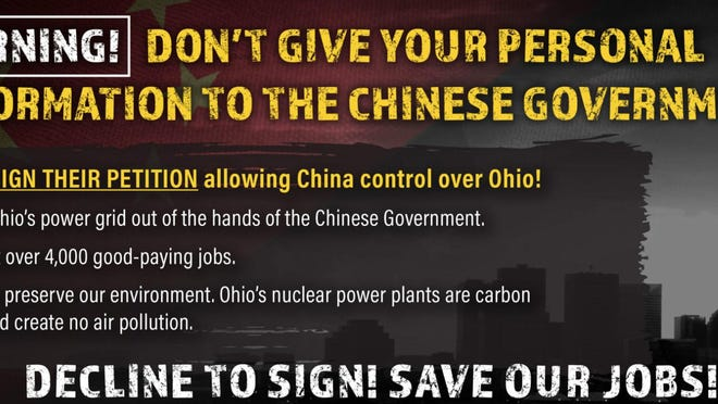 The Ohioans for Energy Security website issued this warning in 2019. In truth, the Chinese government had nothing to do with efforts to put House Bill 6 on the state ballot.