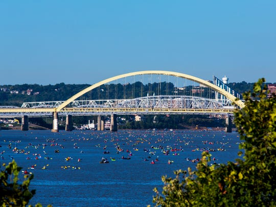 More than 2,000 people participated in Ohio River Paddlefest in 2017. For six hours, barge and motorized boat traffic stops and kayakers, canoers and paddleboarders have the river to themselves.