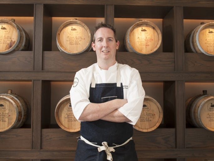 Chef Thomas Harkins of Marlton at Bank & Bourbon restaurant in Philadelphia.  04.17.14
