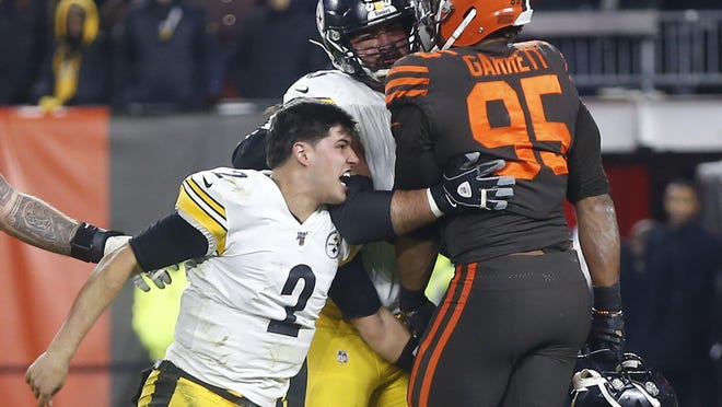 Browns defensive end Myles Garrett (95) said he hasn't spoken to Pittsburgh Steelers quarterback Mason Rudolph since the ugly incident at the end of a game last season but would have no problem talking to him and wishes Rudolph success.