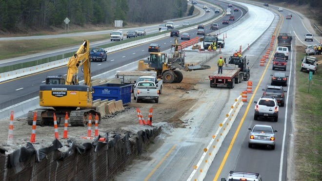 Road work on Interstate 385.