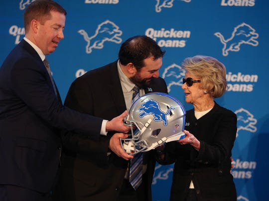 GM Bob Quinn, new Detroit Lions head coach Matt Patricia, owner Martha Firestone Ford after the press conference Wednesday, February 7, 2018 at the practice facility in Allen Park.