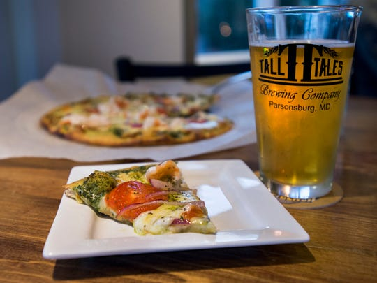 Abominable White IPA with shrimp pizza at Tall Tales in Parsonsburg.