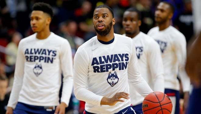 Sam Cassell Jr. of the Connecticut Huskies warms up before the start of the second half against the Colorado Buffaloes during the first round of the 2016 NCAA Men's Basketball Tournament at Wells Fargo Arena on March 17, 2016 in Des Moines, Iowa.  Cassell will transfer to Iona College next season.