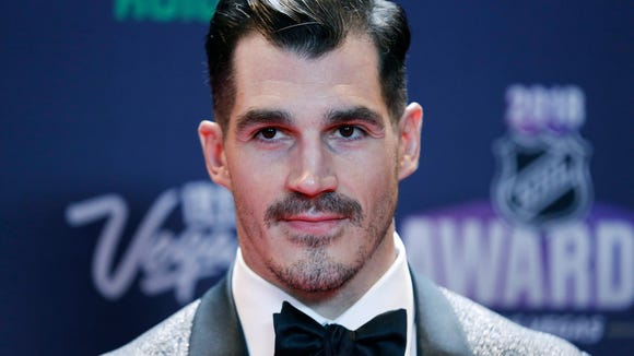 Brian Boyle of the New Jersey Devils poses on the red carpet before the NHL Awards, Wednesday, June 20, 2018, in Las Vegas.