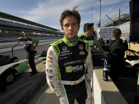 Carlos Munoz after setting the fastest time during practice at the Indianapolis Motor Speedway, May 13, 2015.