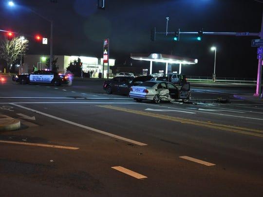 A t-bone collision Thursday night in northeast Salem left two women injured.