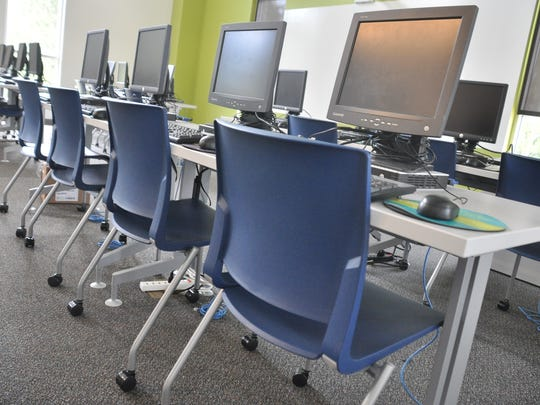 The virtual learning center on the school's second floor has more than 20 computers.