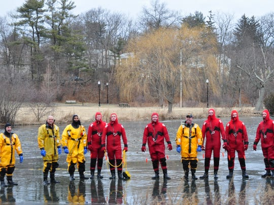 The Verona Fire Department trains for ice rescues on Verona Lake on Sunday, Feb. 4, 2018.