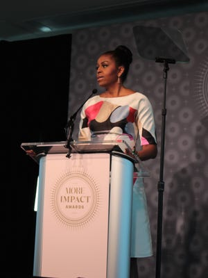 "First Lady Michelle Obama touted her ""Let Girls Learn"" initiative at a MORE magazine luncheon June 28 in Washington, D.C."
