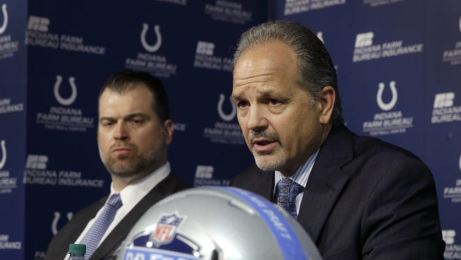 Indianapolis Colts general managers Ryan Grigson and head coach Chuck Pagano talk about the Colts number one pick in the 2016 NFL Draft Thursday, Apr 28, 2016, evening at the Colts Complex.