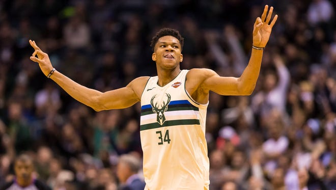 Bucks forward Giannis Antetokounmpo had another spectacular dunk Tuesday night.