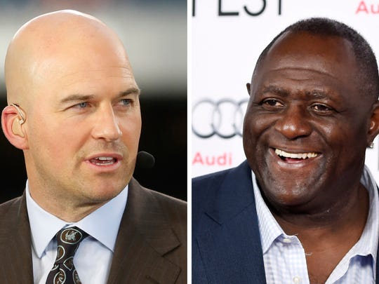 """FILE - At left, in a Sept. 19, 2016, file photo, Matt Hasselbeck talks during ESPN's Monday Night Countdown before an NFL football game between the Chicago Bears and the Philadelphia Eagles in Chicago. At right, in a Nov. 10, 2015, file photo, former NFL football player Leonard Marshall smiles at the world premiere gala screening of the film """"Concussion"""" during the 2015 AFI Fest at the TCL Chinese Theatre in Los Angeles. Two-time Super Bowl champion Leonard Marshall and three-time Pro Bowl selection Matt Hasselbeck say they will donate their brains to the Concussion Legacy Foundation for research into chronic traumatic encephalopathy. The announcements were made on Wednesday, May 17, 2017, as part of the second annual Brain Trust conference, which is hosted by the Veterans Administration. (AP Photo/File))"""