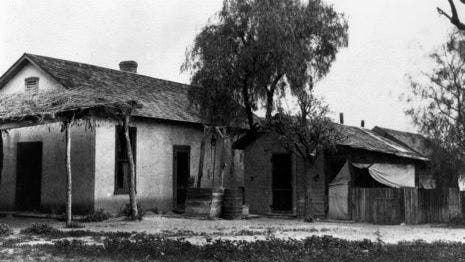 This is the adobe home of Winfield Scott, the founder of Scottsdale, on what is now the northeast corner of Indian School and Scottsdale roads. This building and the surrounding orchard were cleared off the land in the 1950s to make way for a restaurant. This was the Scott's second home; the first burned in 1895.