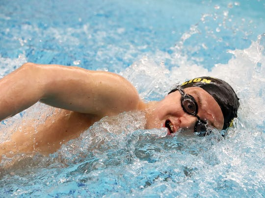 Red Lion's Dylan North took 16th in the 500-yard freestyle at the PIAA Class AAA swimming and diving championships at Bucknell University Thursday March 17, 2016.