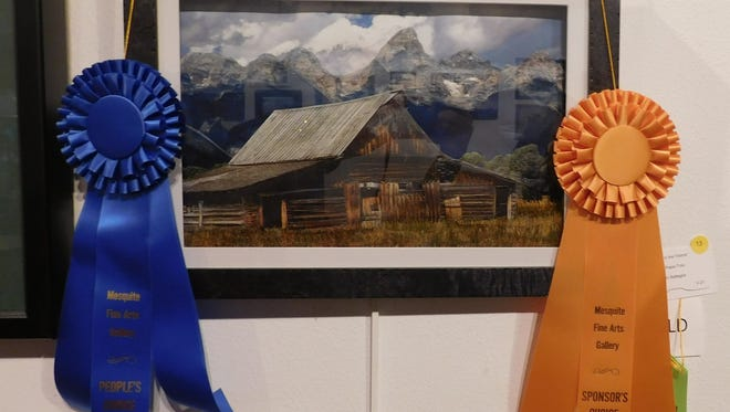 "Jean Battaglia's ""Barn in the Tetons"" won three awards in the Virgin Valley Artists Association's February competition."