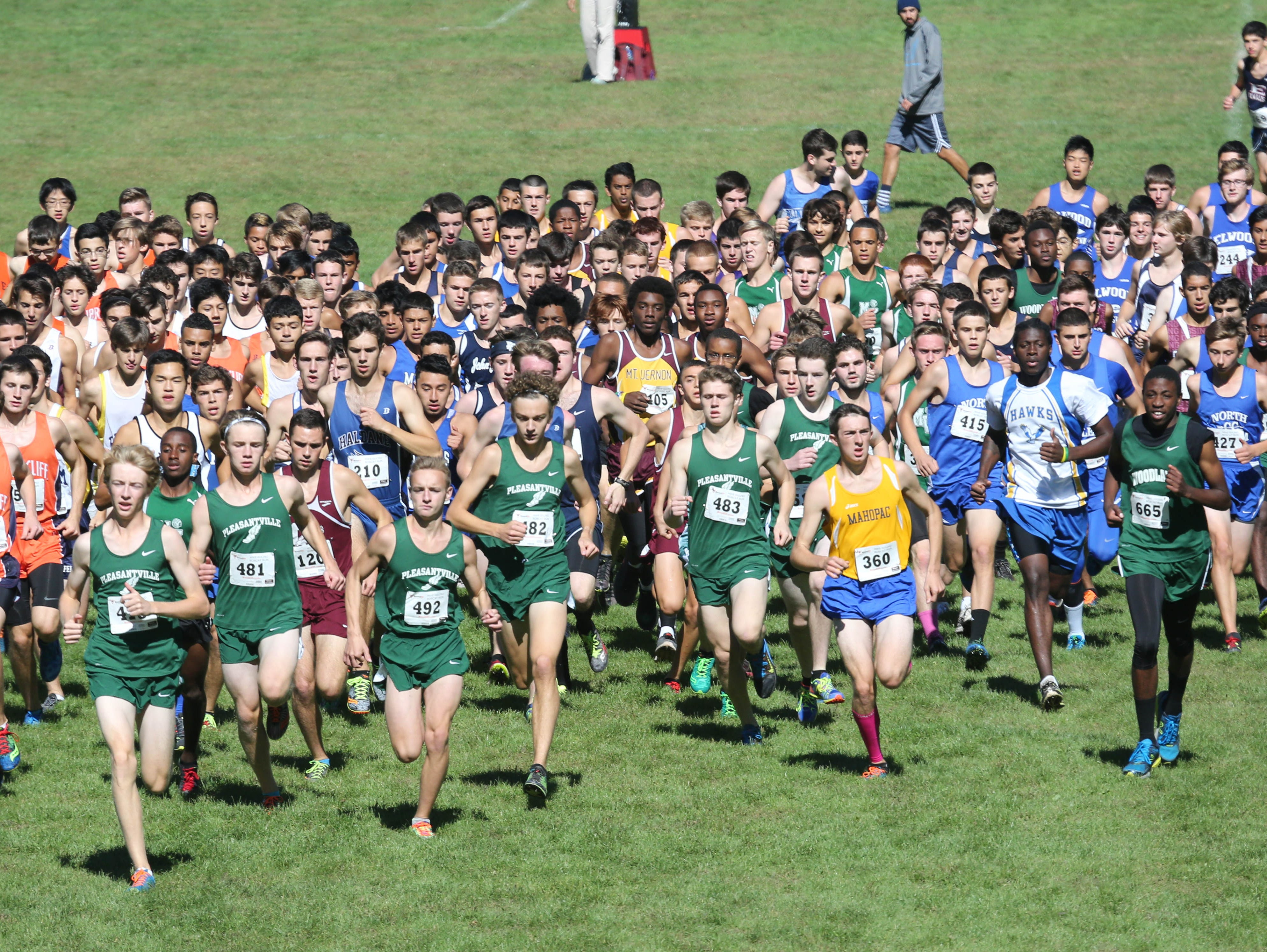 The start of the boys varsity race during the Bobcat Run cross country meet at Byram Hills High School in Armonk, Oct. 10, 2015.