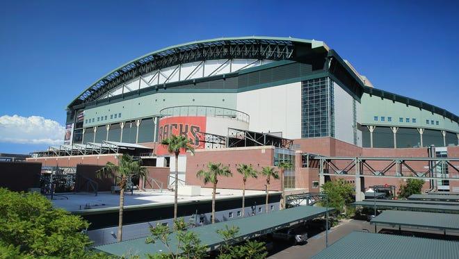 Chase Field home of the Arizona Diamondbacks prior to their MLB game Saturday, Aug. 26, 2017, in Phoenix, Ariz.