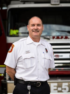 Lt. Jamie Neufeld poses for a photo at the Farmington Hills Fire Department.