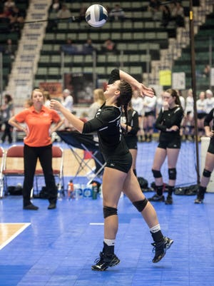 Pawlings' Jaclyn Smith serves the ball during the game against Eden during the Girls Volleyball State Championships at the Glens Falls Civic Center Saturday, November 19th, 2016.