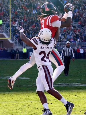 Damore'ea Stringfellow caught 46 passes for 716 yards and six scores for Ole Miss this season.