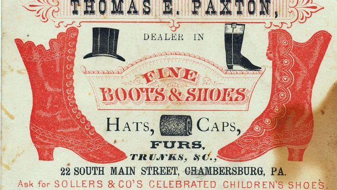 Trade cards for the business of Thomas Paxton advertised fine shoes and outerwear, circa 1880.