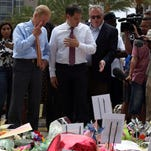 Florida Sens. Bill Nelson and Marco Rubio visit the Pulse victims memorial at Dr. Phillips Center. The two senators split sharply during Monday's votes on gun control measures.