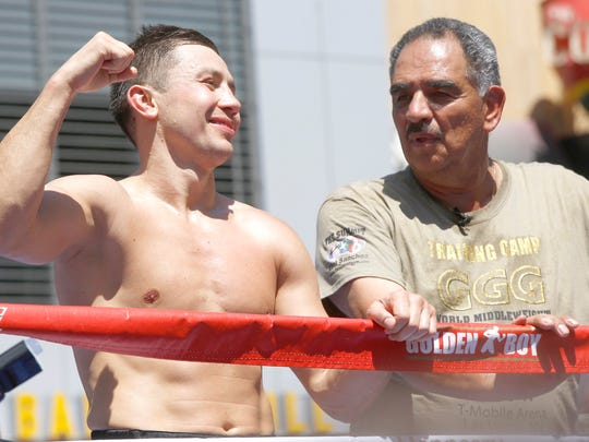 "Boxer Gennady ""GGG"" Golovkin, left, and his coach Abel"