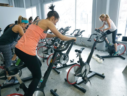 Stationary bikes at M/Body.