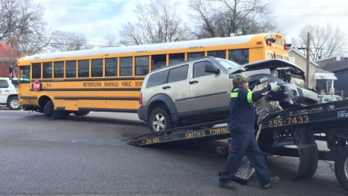 The scene after a school bus crash on Friday, Jan. 20, 2017 in Nashville.