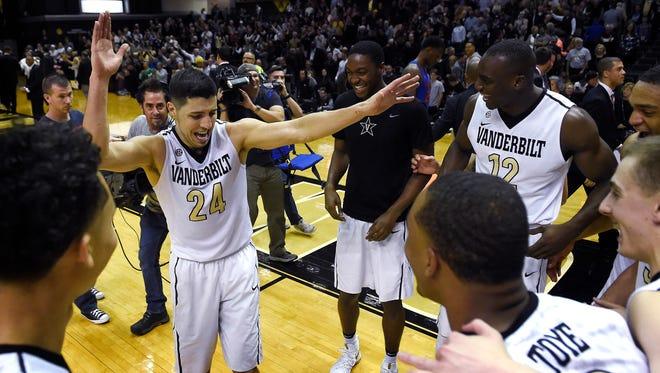 Vanderbilt guard Nolan Cressler (24) does a dance of joy after Vanderbilt defeated Florida 73-71 at Memorial Gym.Saturday March 4, 2017, in Nashville, TN