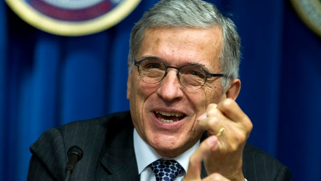 Federal Communications Commission (FCC) Chairman Tom Wheeler speaks during a new conference in Washington, on Oct. 8, 2014.