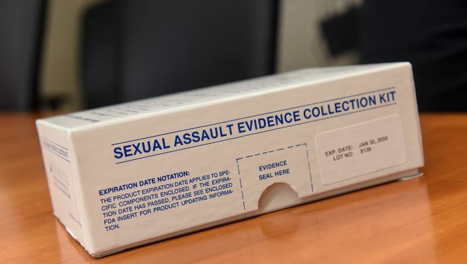 A sample sexual assault evidence kit used for training is pictured