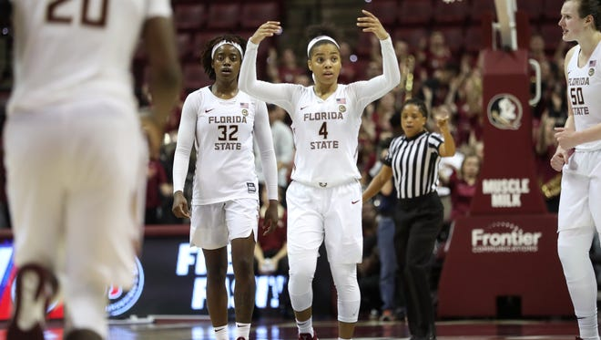 FSU's AJ Alix hypes up the crowd against Georgia Tech during their game at the Tucker Civic Center on Sunday, Feb. 25, 2018.