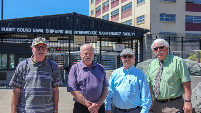 From left to right, Allan Botsford, Thomas McKenzie, Bill Robinson and Terry Cooper have each have worked at Puget Sound Naval Shipyard for more than four decades.