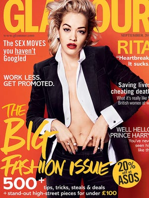 "Rita Ora on the cover of British ""Glamour"" magazine."