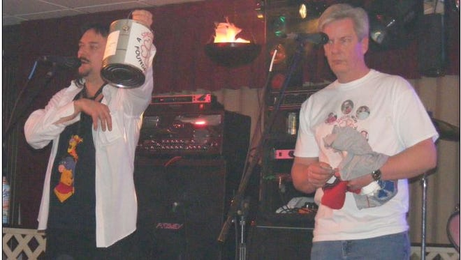 Frank Medley and Keith Bacin during a past Special Wish Music Fest at the Liederktranz ask for donations for A Special Wish Foundation.