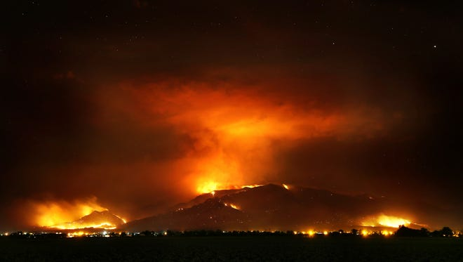 The Frye Fire burns the western edge of the Pinaleño Mountains near Willcox on  June 22, 2017. The lightning-caused fire is now at nearly 29,000 acres.