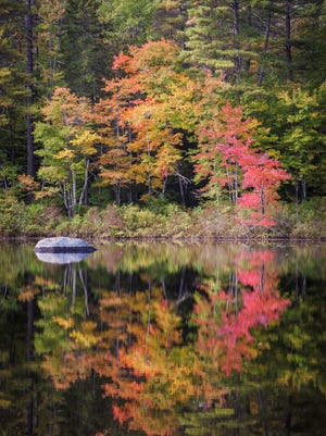 """""""Reflection at Lake Chocorua"""", a photograph taken in the  White Mountains of  New Hampshire by Karen Stephenson"""